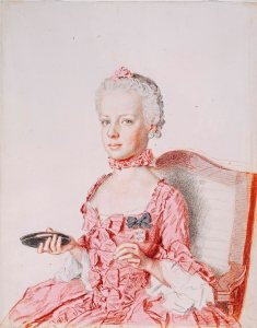 Jean-Etienne Liotard, Archduchess Marie-Antoinette of Austria, 1762 Black and red chalk, graphite pencil, watercolour and watercolour glaze on paper, heightened with colour on the verso, 31.1 x 24.9 cm Cabinet d'arts graphiques des Musees d'art et d'histoire, Geneva. On permanent loan from the Gottfried Keller Foundation, inv. 1947-0042 Photo Musee d'art et d'histoire, Geneva. Photography: Bettina Jacot-Descombes