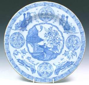 A Liverpool Delftware Charger after a Chinese Kangxi design c. 1760