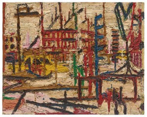 Frank Auerbach (b 1931) Mornington Crescent 1965 Painting Oil paint on board 1016 x 1270 mm Private collection, courtesy of Eykyn Maclean, LP © Frank Auerbach, courtesy Marlborough Fine Art