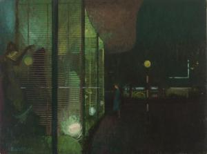 Lionel Bulmer (1919-1992) NEAC, Night Windows, 1957, Oil on Board, H 92 x W 122 cm