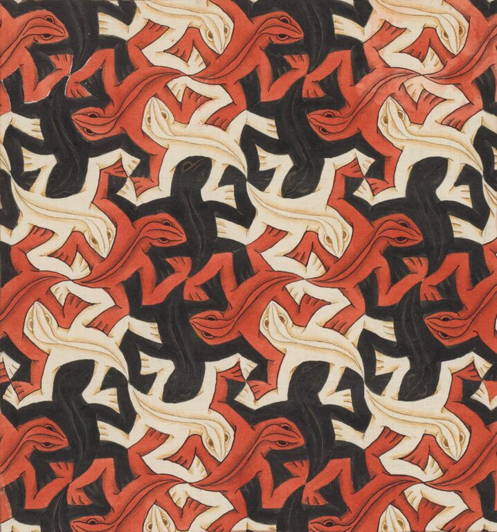 M.C. Escher, Regular Division of the Plane with Reptiles/ Lizards no.56, November 1942, 22 x 20.7 cm, Collection Gemeentemuseum Den Haag, The Hague, The Netherlands. © 2015 The M.C. Escher Company-The Netherlands. All rights reserved. www.mcescher.com