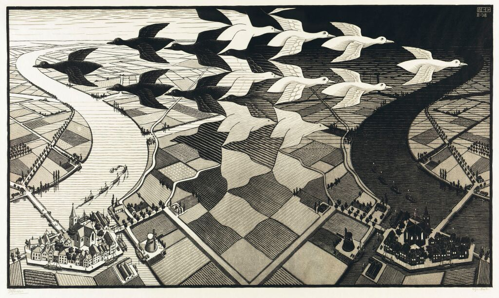 M.C. Escher, Day and Night, February 1938, Woodcut in black and grey, 39.2 x 67.8 cm, Collection Gemeentemuseum Den Haag, The Hague, The Netherlands © 2015 The M.C. Escher Company-The Netherlands. All rights reserved. www.mcescher.com