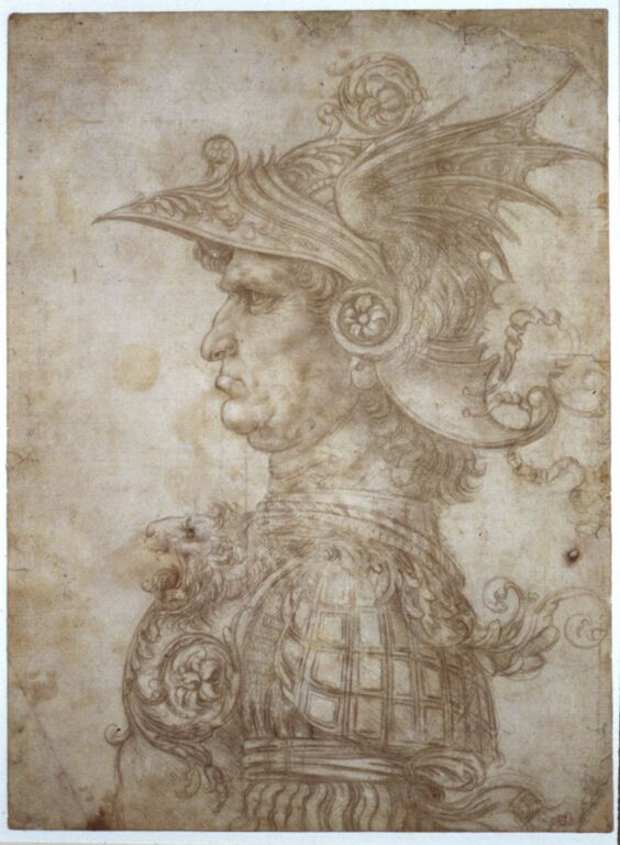 Leonardo da Vinci, Bust of a warrior, c. 1475, silverpoint, on cream prepared paper, 287 x 211mm. © The Trustees of the British Museum