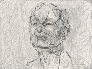 Self-Portrait 2015 Graphite and pastel on paper 57.8 x 76.5 cm © Frank Auerbach and courtesy Marlborough Fine Art