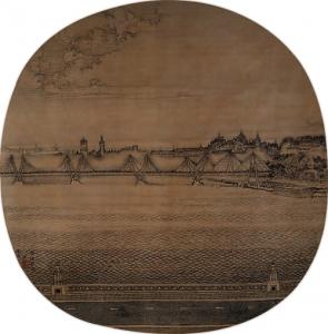 "Xu Jianguo (b. 1951) ""Morning Waves on the Thames "" 2011 Round-fan shaped painting Ink on silk 38.5 x 37.8 cm. (15 1/8 x 14 7/8 in.) Inscription: ""The morning waves of the Thames, painted in 2011. Jian Guo."" Artist's seal: Xu"