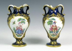 A Pair of Vauxhall Vases decorated by James Giles c. 1764-68