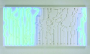 Daylight Map, 2005, Olafur Eliasson Neon, sintra box, transformers, controllers, sequencer, timers, 122 x 254 x 15.2 cm / 48 x 100 x 6 in., private collection Courtesy of the artist, neugerriemschneider, Berlin and Tanya Bonakdar Gallery, New York / photo: Tanya Bonakdar Galler