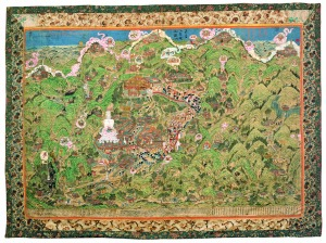 Panoramic View of Wutaishan, 1846, Gelong Lhündrup Hand-coloured woodcut, 144 x 194.6 cm / 4 ft 10 3/4 in x 6 ft 4 3/4 in. Rubin Museum of Art, New York Credit: Rubin Museum of Art