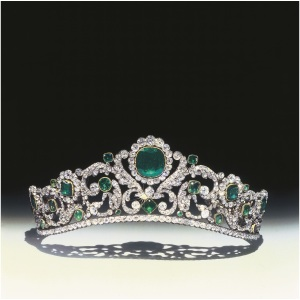 An Emerald and diamond set Tiara by Evrard & Frédéric Bapst , Originally part of the French Crown Jewels