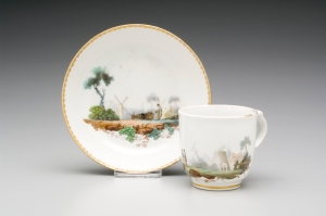 New Hall Cup and Saucer, circa 1785-1790 Decorated by Fidelle Duvivier