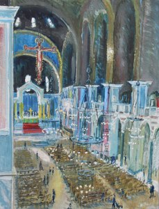 Alice Hall AROI Morning Light across the Nave, Westminster (2015) Oil on canvas 98 x 78 cm