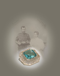A Fabergé Aquamarine and diamond brooch bought by Nicholas II for his wife Alix of Hesse three months before their wedding.