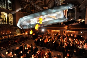 Flight an installation artwork by war artist Arabella Dorman. Pictured during the Festival of Lessons and Carols on 20th December 2015. Photo credit: Adrian Brooks/Imagewise