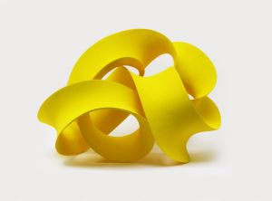 Yellow twisted form,2015, h40 60x50 cm, 2015, Ceramic with coloured slip, Courtesy of Pangolin London