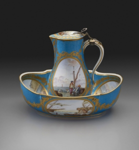 Factory: Sèvres Porcelain Manufactory Painted by: Jean-Louis Morin (active 1754- 1787) Gilded by: Henri-Martin Prévost aîné (active 1757- 1797) Water Jug with Marine Scenes, Turquoise Blue Ground, 1781 soft-paste porcelain 8 1/4 x 5 5/8 x 5 1/8 in. (21 x 14.3 x 13 cm) Gift of Miss Helen Clay Frick, 1934 Accession number: 1934.9.44