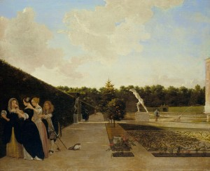 Ludolf de Jongh, 'A Formal Garden: Three Ladies Surprised by a Gentleman', c.1676 Royal Collection Trust/ (C) Her Majesty Queen Elizabeth II 2015
