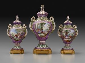 Factory: Sèvres Porcelain Manufactory Model by: Jean-Claude Duplessis (c.1695- 1774) Pot-Pourri Myrte with Flemish Scenes and Landscapes, c.1762 soft-paste porcelain on gilt bronze plinth 14 3/16 x 7 1/8 in. (36 x 18.1 cm) Henry Clay Frick Bequest Accession number: 1918.9.10