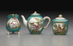 Tea Service (milk jug, tea pot, sugar bowl) Sèvres Porcelain Manufactory French, 1767 Soft-paste porcelain Teapot: 51/2 x 7 3/16 x 4 1/8 in. (14 x 18.3 x 10.5 cm) Sugar bowl: h. 4 3/4 in. (12.1 cm), diam. 3 7/8 in. (9.8 cm) Milk jug: 4 5/8 x 5 x 3 1/2 in. (11.7 x 12.7 x 8.9 cm) Henry Clay Frick Bequest (1918.9.21−31)