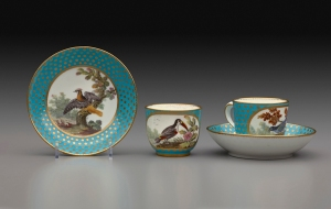 Tea Service (saucer, cup, cup and saucer) Sèvres Porcelain Manufactory French, 1767 Soft-paste porcelain Cups: 2 3/8 x 3 11/16 x 2 7/8 in. (6 x 9.4 x 7.3 cm) Saucers: h. 1 13/8 in. (3.5 cm), diam. 5 3/8 in. (13.7 cm) Henry Clay Frick Bequest (1918.9.21−31)