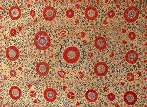 Bokhara Suzani embroidery, made as a dowry gift, Central Asia, 2.15m x 1.63m, c1850, Aaron Nejad Antique Carpets