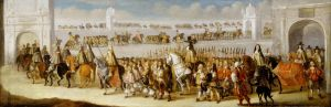 Dirk Stoop, c.1661, Charles II's cavalcade through City of London on 22nd April 1661, the day before his coronation. Oil on panel. (c) Museum of London