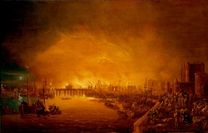 Painting of 'The Fire of London, September 1666', unknown, 17th century, (c) National Maritime Museum, London
