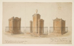 Soane Office, Three alternative designs for the tomb of Philippe Jacques de Loutherbourg RA