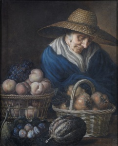 Unknown Artist, eighteenth century A Market Woman with Fruit Pastel on paper, 81.3 x 66cm © The Holburne Museum