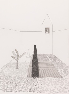 David Hockney, Rapunzel Growing in the Garden from Illustrations for Six Fairy Tales from the Brothers Grimm, 1969 © David Hockney
