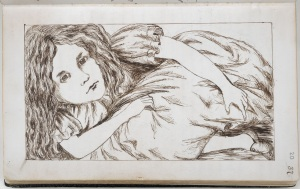 A drawing of Alice from Lewis Carroll's manuscript of Alice's Adventures Under Ground, written between 1862-64 (c) The British Library Board