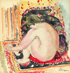 Stephen Ongpin Henri Lebasque (1865 - 1937), A Seated Female Nude in an Interior 20 x 19cm,