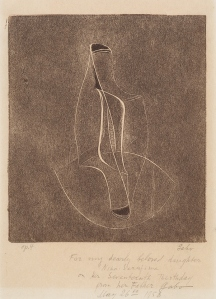 Naum Gabo Opus Four (Family name – The Lyrebird), 1950 Monoprint in dark brown from a professionally made end-grain block. Paper 22.9 x 15.3 cm / Image 15.9 x 13.7 cm Inscribed For my dearly beloved daughter Nina Serafima on Her Seventeenth Birthday from her Father Gabo May 26th 1958 Courtesy Nina and Graham Williams and Alan Cristea Gallery, London