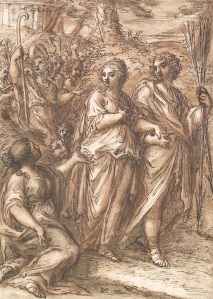 Crispian Riley-Smith attrib. Patrizi (1663 - 1744), Marriage Scene of Dorinda and Silvio, Red chalk, ink wash, 20 x 14cm