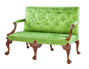 George II carved walnut settee with striking scrolling arm supports finely carved with acanthus decoration and boldly carved cabriole front legs, possibly by Giles Grendey, (est. £20,000-30,000)