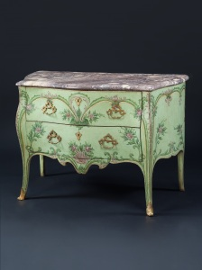 Pair of Genoese commodes, each with two drawers decorated 'sans traverse' with foliate scrolls and swags on a pale green background, the scroll legs terminating in gilt sabots, 86.5cm high, 61cm deep, (est. £30,000-50,000)