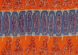 """GRAY M.C.A Henry Moore """"Insect Wings & Ovals"""" Orange & Grey 9.5"""" x 14.5"""" , Rayon Crepe, Provenance: The Ascher Collection"""