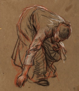 Study of a Harvester, about 1900 Sir George Clausen (1852-1944) Black chalk and pastel on brown paper, 38.8 27.5 cm © The Holburne Museum. Photo © Dan Brown