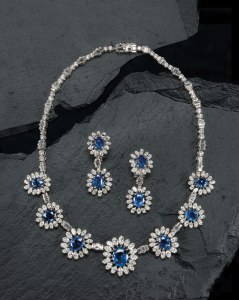HOWARDS JEWELLERS Sapphire and diamond suite, circa 1970 Total estimated sapphire weight: 34 carats Total estimated diamond weight: 30 carats