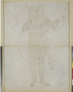 Sandro Botticelli Centre of Hell. The full figure of Lucifer (Divine Comedy, Inferno XXXIV,2), around 1481-1495, Pen and brown ink over metal pen on parchment, 63,2 x 46,3 cm © Staatliche Museen zu Berlin, Kupferstichkabinett / Philipp Allard
