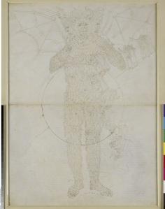 Sandro Botticelli Centre of Hell. The full figure of Lucifer (Divine Comedy, Inferno XXXIV,2), around 1481-1495, Pen and brown ink over metal pen on parchment, 63,2 x 46,3 cm © Staatliche Museen zu Berlin, Kupferstichkabinett / Philipp Allard