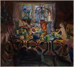 Nikolai Astrup Interior Still Life: Christmas Morning, Oil on canvas 94 x 104 cm Private Collection