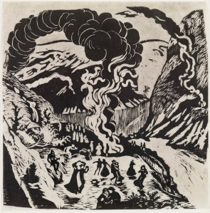 Nikolai Astrup Midsummer Eve Bonfire, After 1917 Black and white woodcut on paper 34.5 x 34 cm approx Private Collection