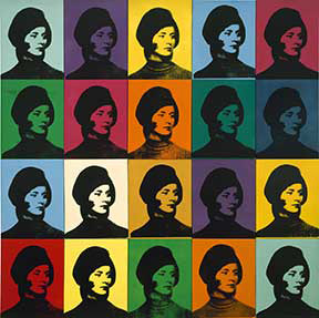 Andy Warhol Miriam Davidson , 1965 Spray paint and silkscreen ink on canvas 80 1/4 x 80 1/2 inches 203.8 x 204.5cm Private Collection © 2015 The Andy Warhol Foundation for the Visual Arts, Inc. / Artists Rights Society (ARS), New York.
