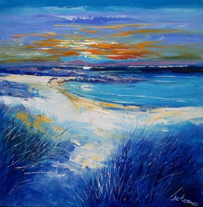 Jolomo, A winter sunset Isle of Tiree, oil on canvas 24×24 in
