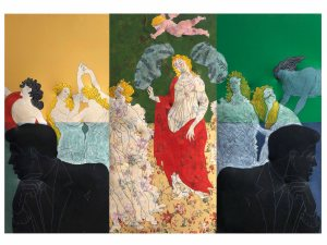Cesare Tacchi, I guardiani della primavera Pop, 2006 paint on printed fabric and relief (triptych) 210 x 300 cm / 82.7 x 118 Courtesy Tornabuoni Art
