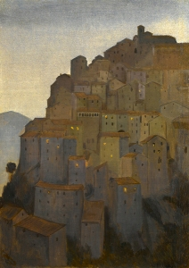 Dusk, Anticoli Corrado, 1921 Framed (ref: 44) Oil on canvas 16 1/2 x 11 in. ( 42 X 28 cm) Exhibited: - A Working Method,Young Gallery Salisbury, March- April 2016, Sotheran's, April-May 2016. Literature: Charles Cundall - A Working Method, Edited by Sacha Llewellyn & Paul Liss, published by Liss Llewellyn Fine Art, February 2016. Provenance: the artist's wife, Jaqueline Pieterson Anticoli Corrado, a small village south of Rome, was famed for the beauty of its inhabitants and had, since the nineteenth century, been popular with Italian painters