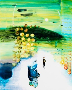 John Kørner Running against apples, 2016 Acrylic on canvas 150 x 120 cm, 59 1/8 x 47 1/4 in Courtesy the Artist and Victoria Miro, London© John Kørner