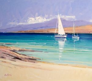 Robert Kelsey Yachts in the Sound of Iona Oil on linen 24'' x 28''