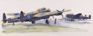 Lancaster Bombers Framed (ref: 6976) Watercolour on paper 9 ½ x 24 in. (24 x 61 cm) Provenance: Acquired directly from the Artist's Daughter Exhibited: - A Working Method,Young Gallery Salisbury, March- April 2016, Sotheran's, April-May 2016. Literature: Charles Cundall - A Working Method, Edited by Sacha Llewellyn & Paul Liss, published by Liss Llewellyn Fine Art, February 2016.