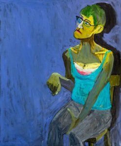 Lucy Jones, Sitting, 2015, Oil on canvas 120 x 100 cm (c) Lucy Jones, Courtesy of Flowers Gallery London and New York